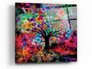 "Epic Graffiti Kaleidoscope Tree Black Tempered Glass Wall Art, 18"" x 18"""