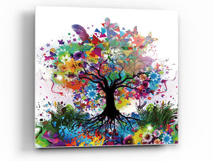 "Epic Graffiti Kaleidoscope Tree Tempered Glass Wall Art, 18"" x 18"""