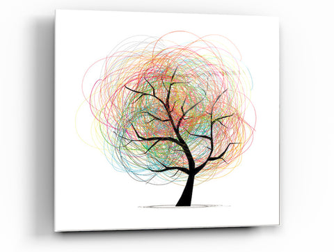 "Epic Graffiti Children's Tree Tempered Glass Wall Art, 18"" x 18"""