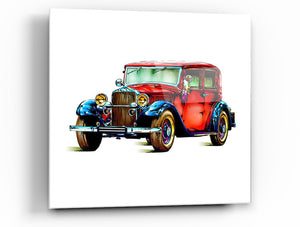 "Epic Graffiti Classic Car 2 Tempered Glass Wall Art, 18"" x 18"""