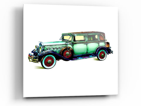 "Epic Graffiti Classic Car 3 Tempered Glass Wall Art, 18"" x 18"""