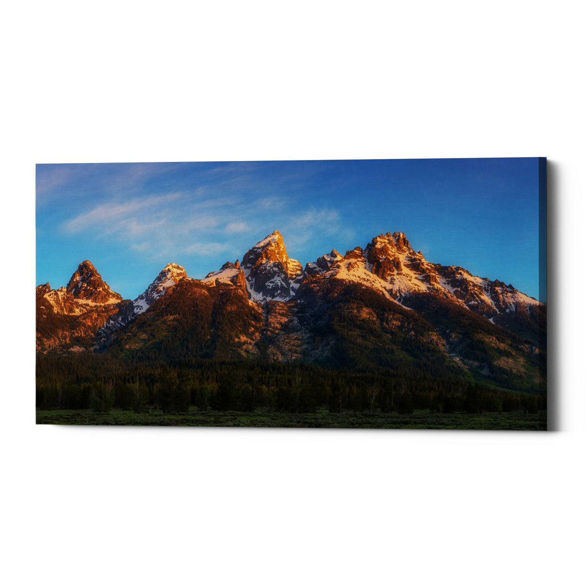 "Epic Graffiti ""Tetons First Light"" by Darren White, Giclee Canvas Wall Art"