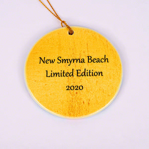 2020 Flagler Avenue Limited Edition Round Ornament with Pink Christmas Tree Back of Ornament New Smyrna Beach 2020