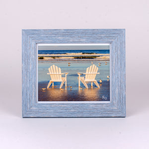 8x10 Fine Art Framed Photograph of Adirondack Chairs on the beach in a Blue Rustic Frame