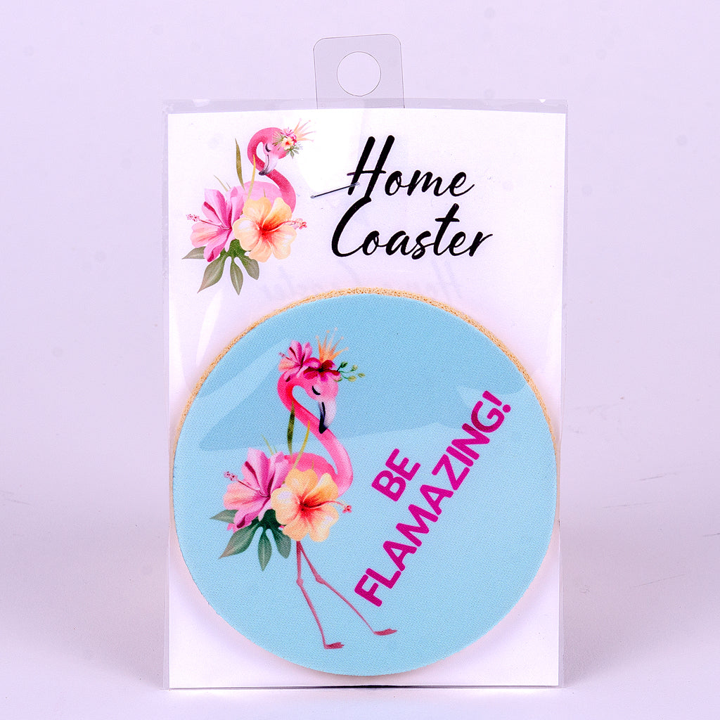 "4"" Be Flamazing Flamingo Rubber Home Coaster"