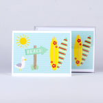 "Set of 5 notecards and envelopes on front-Beach (4""x5.25"")"