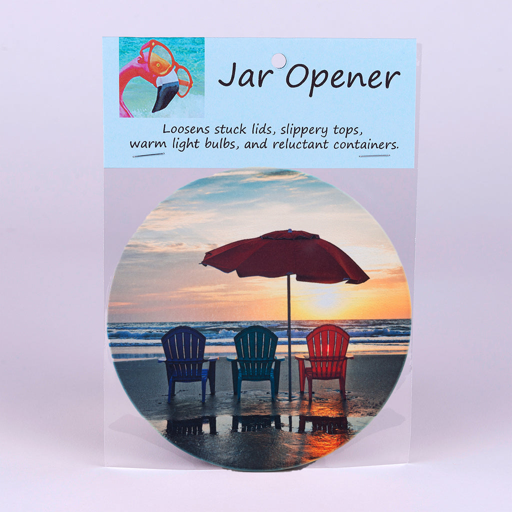 "5"" Jar Opener of 3 chairs on the beach"
