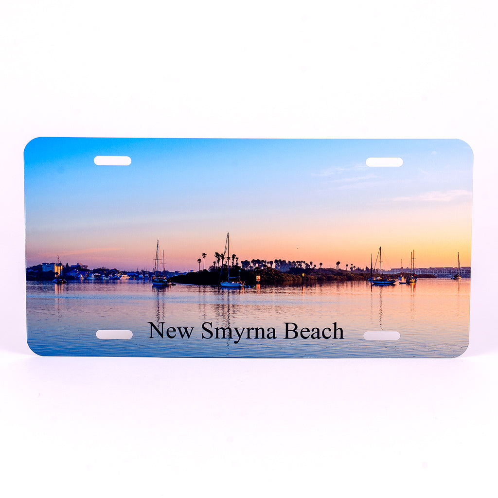 Glossy Aluminum License Plate for your car with Chicken Island New Smyrna Beach