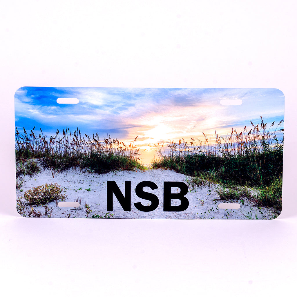 Glossy Aluminum License Plate for your car with sea oats dunes at sunrise