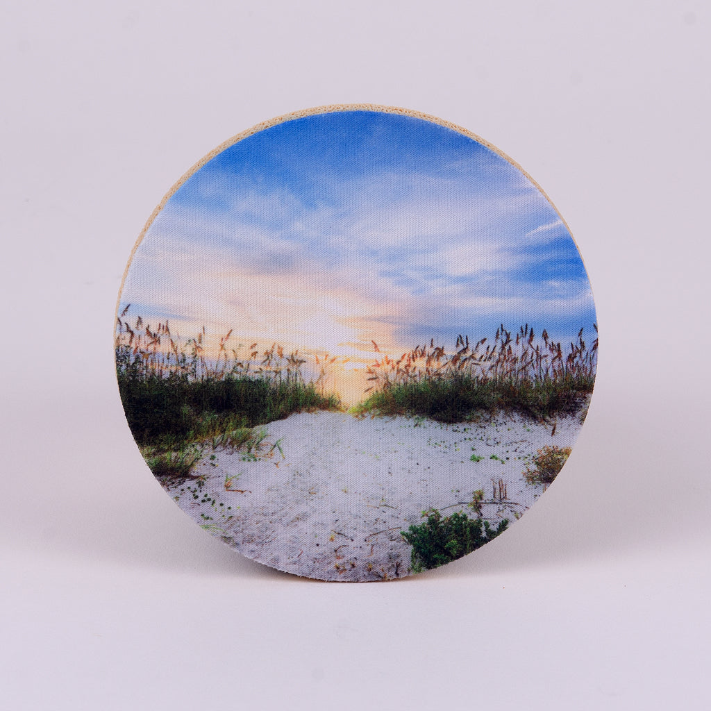 "4"" round rubber coaster with beach sea oats at sunset"