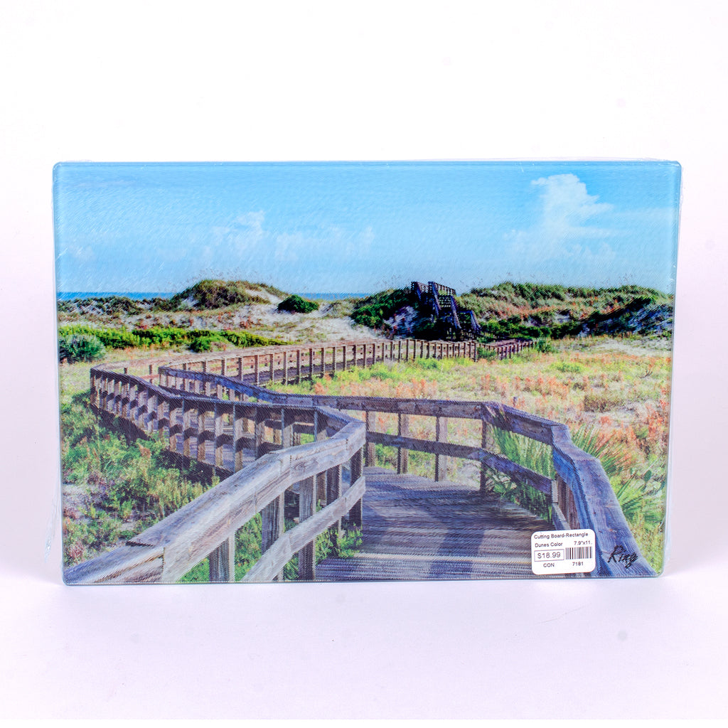 Small Glass rectangle cutting board with Dunes Color in New Smyrna Beach (11.25x8)
