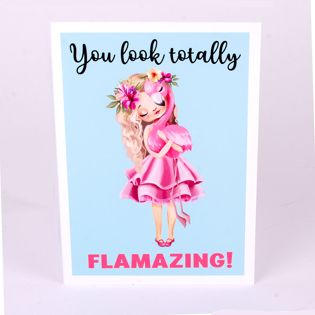You look totally FLAMAZING with Girl and Flamingo Glossy Notecard