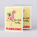 "Set of 5 notecards and envelopes on front-You look totally FLAMAZING with Flamingo(4""x5.25"")"
