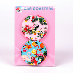 Sandstone car coasters (set of 2) with flamingo and fruit
