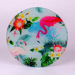 "8"" glass round cutting board with Flamingo and Flowers"