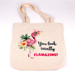 Polyester Linen Tote bag with Flamingo and words you look totally FLAMAZING