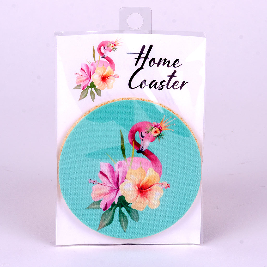 "4"" Flamingo Flower Rubber Home Coaster"