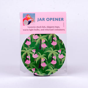 Rubber Jar Opener with Flamingos and Palm Trees