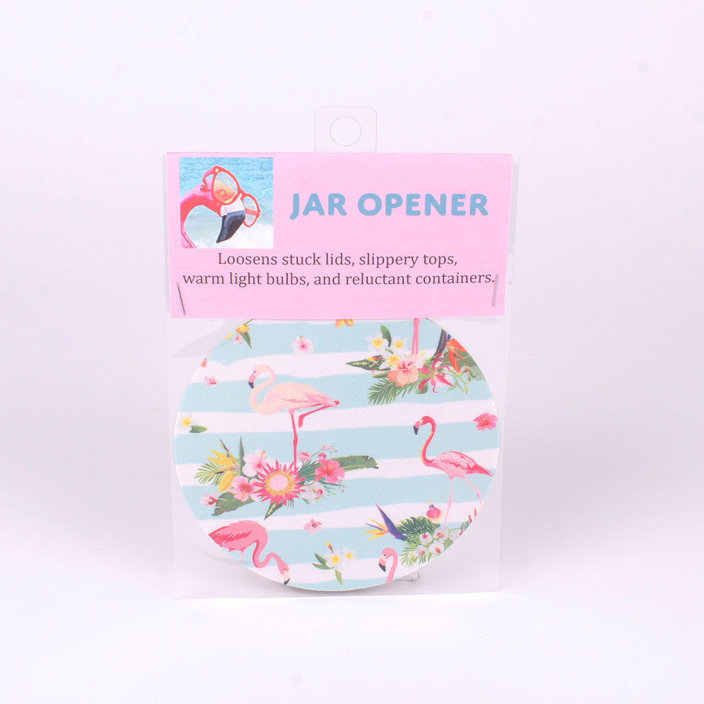 "5"" Jar Opener of Pink Flamingo with Blue Stripe background"