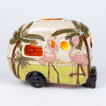 Beautiful ceramic flamingo camper table top night light that is perfect for your home.
