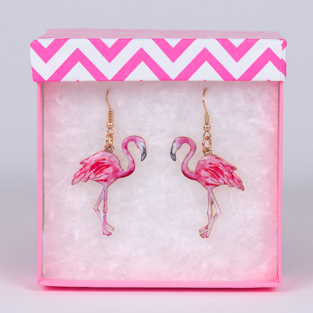 Bright Pink Gold Dangling Flamingo Earrings