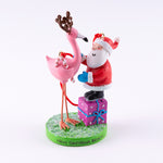 Santa and Flamingo Reindeer Resin Christmas Ornament