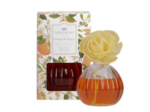 Flower Diffuser in a beautiful Glass Container (Fragrance: Orange & Honey)