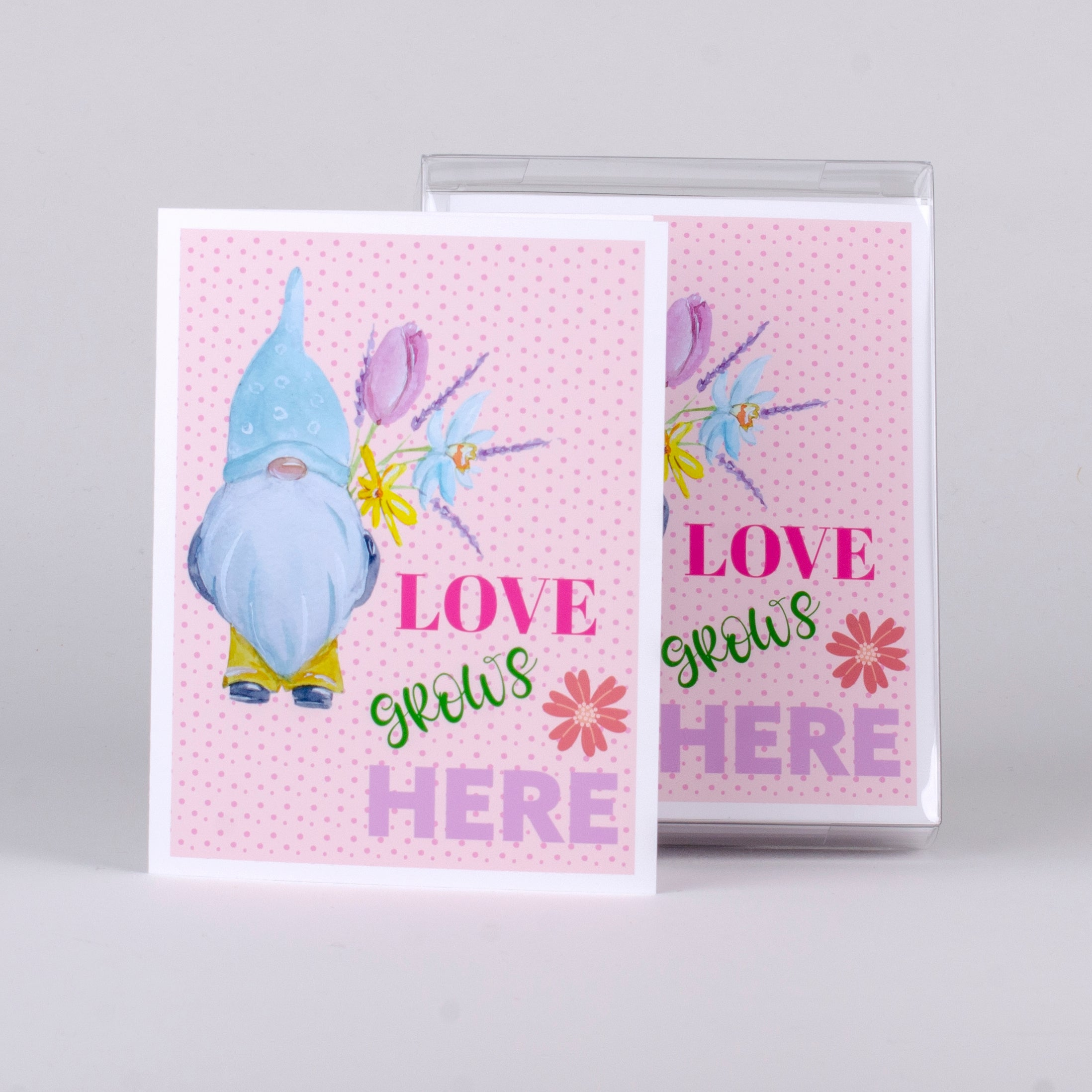 "Set of 5 notecards and envelopes on front-Gnome Love grows Here (4""x5.25"")"