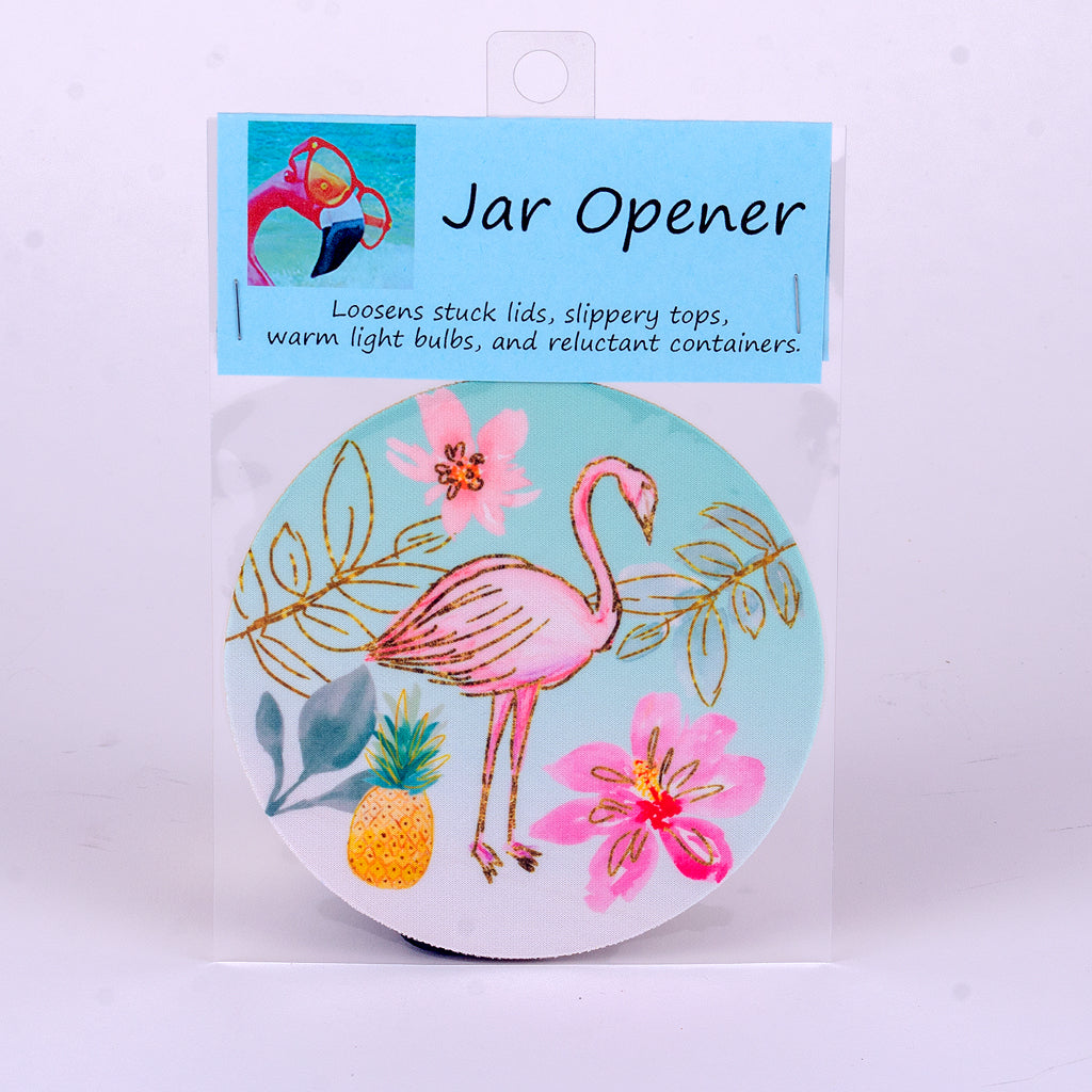 "5"" Rubber Jar Opener Flamingo, Tropical Flowers and Pineapple"