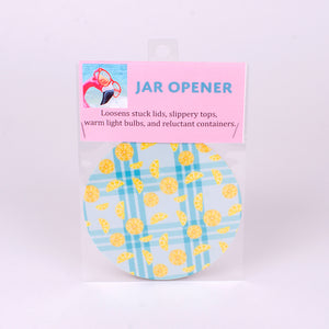"5"" rubber jar opener blue plaid with lemons"