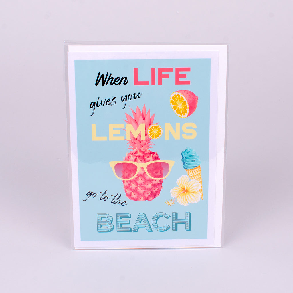 When life gives you lemons go to the beach glossy notecard
