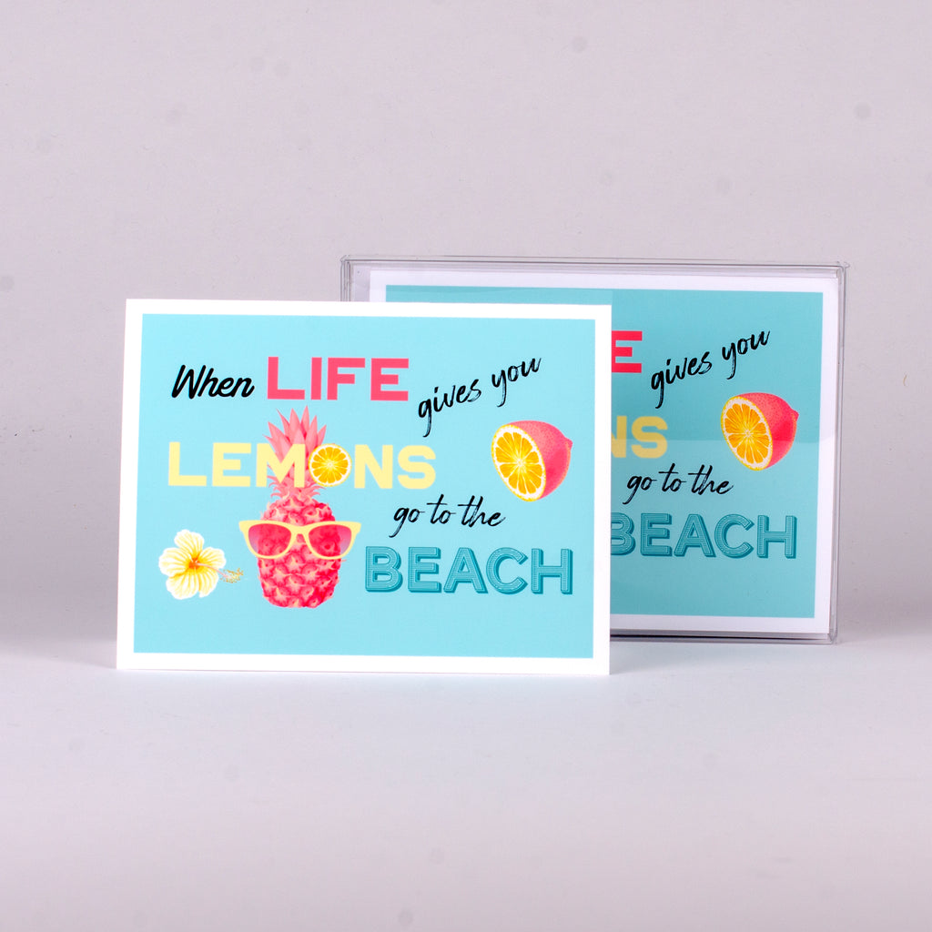 "Set of 5 notecards and envelopes on front-When Life gives you Lemons go to the beach (4""x5.25"")"
