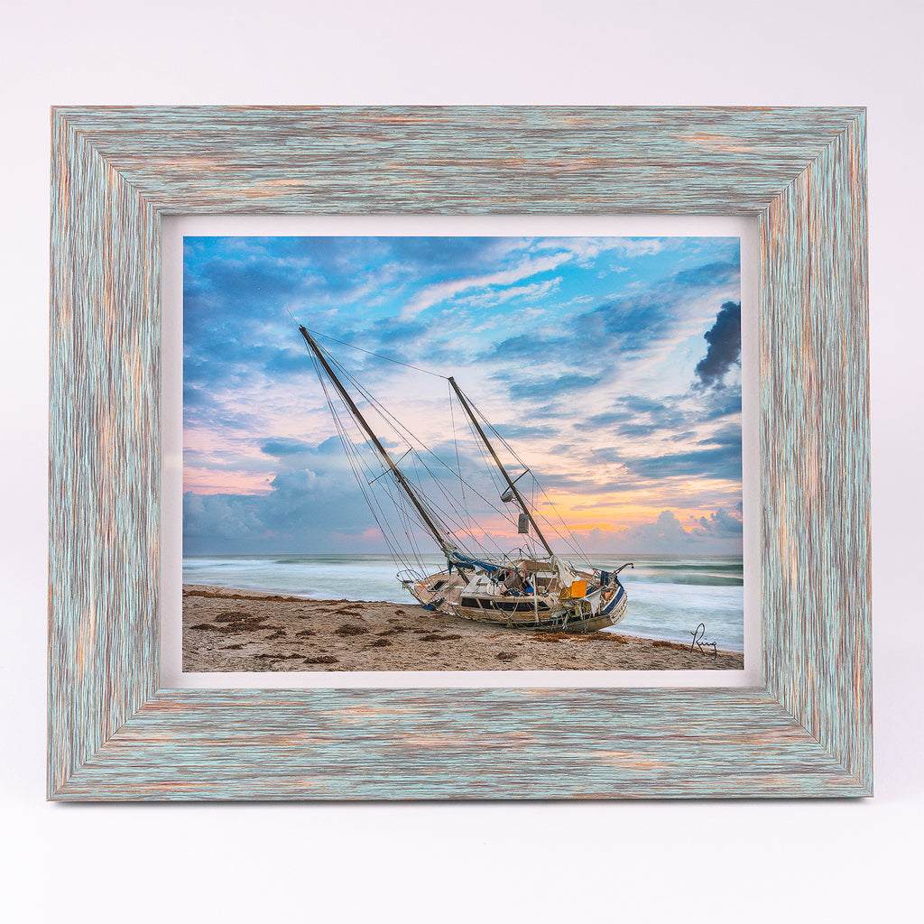 Lost Soul (Sailboat) 8x10 Fine Art Photograph Blue Frame