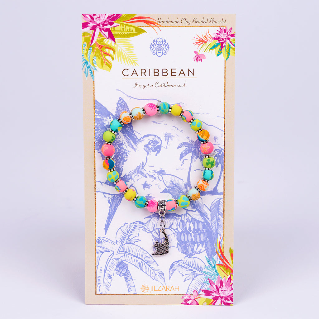 Clay Caribbean Bracelet (Silver with Fish Charm)