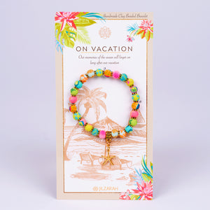 Clay on Vacation Bracelet (Gold with Beach Colors and Starfish Charm)