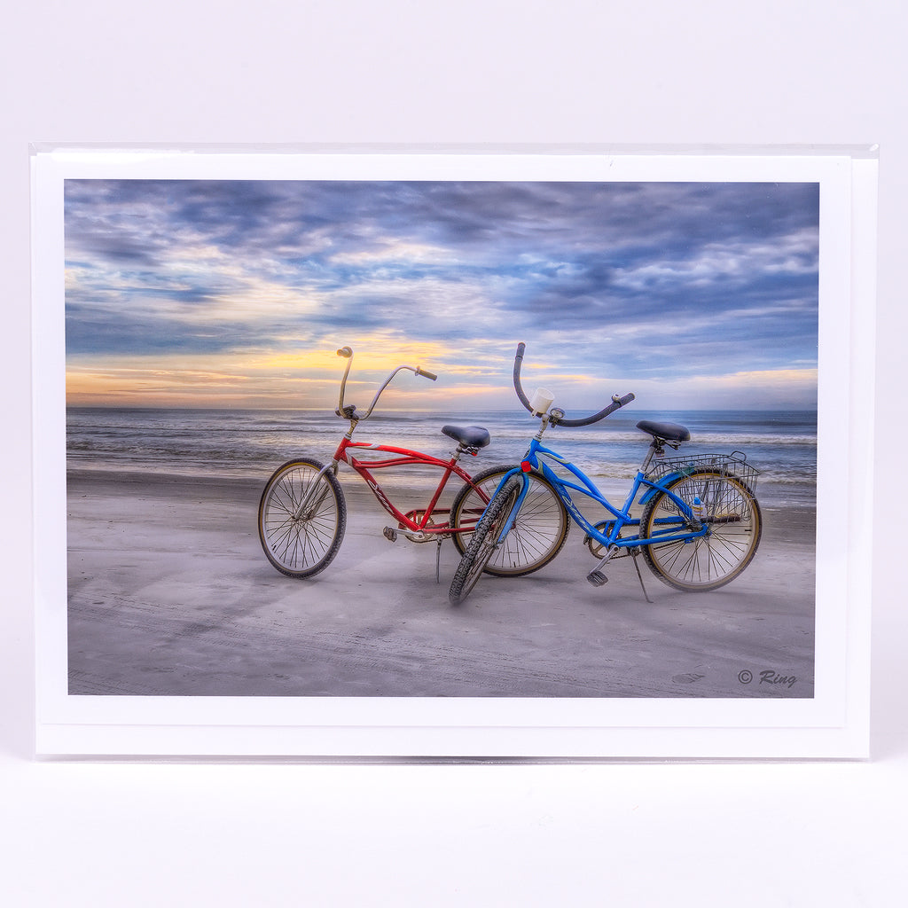 Two bikes on the beach Photographic Notecard