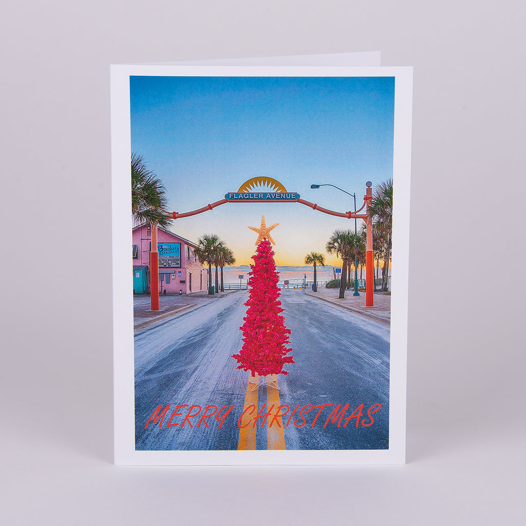 Flagler Avenue Christmas Notecard-Pink Christmas Tree in Front of Entrance to the Beach