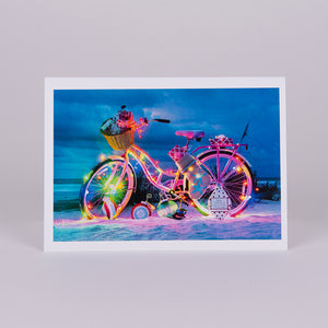 Beach Cruiser Christmas Notecard (Bike decorated with Christmas Lights on the Beach)