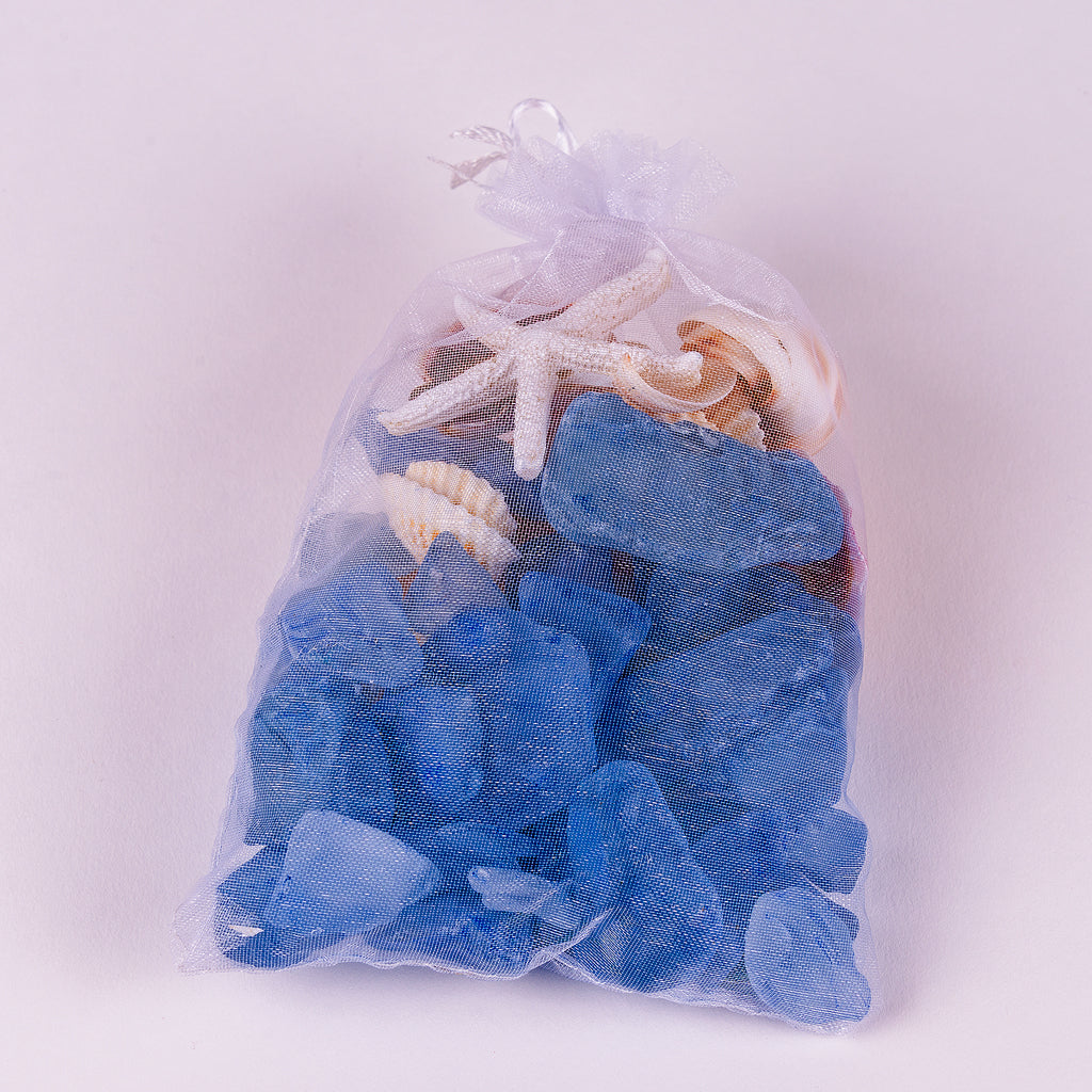 Organza Bag filled with blue sea glass and shells