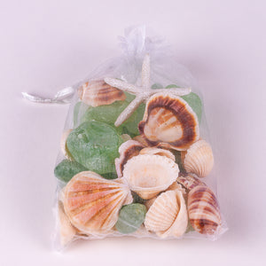 Organza Bag filled with green sea glass and shells