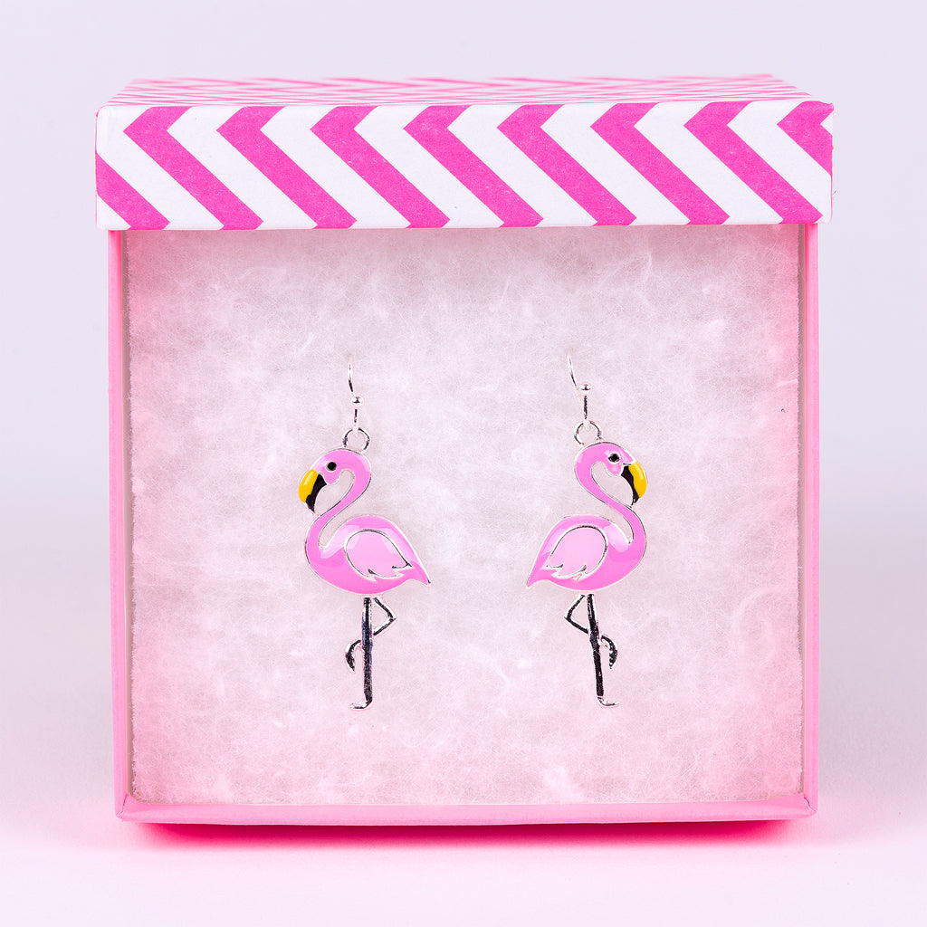 Pink Flamingo Silver-Plated Earrings