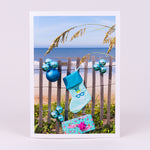 2019 New Smyrna Beach Notecard with Blue Christmas Stocking and Balls