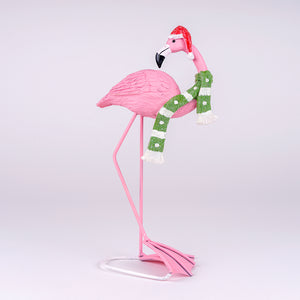 Flamingo with Green Scarf Christmas Decor