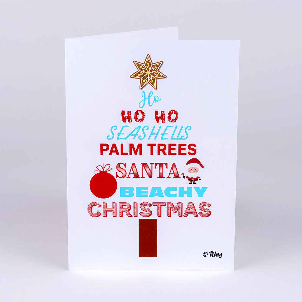 Christmas Tree Words Notecard for the Beach