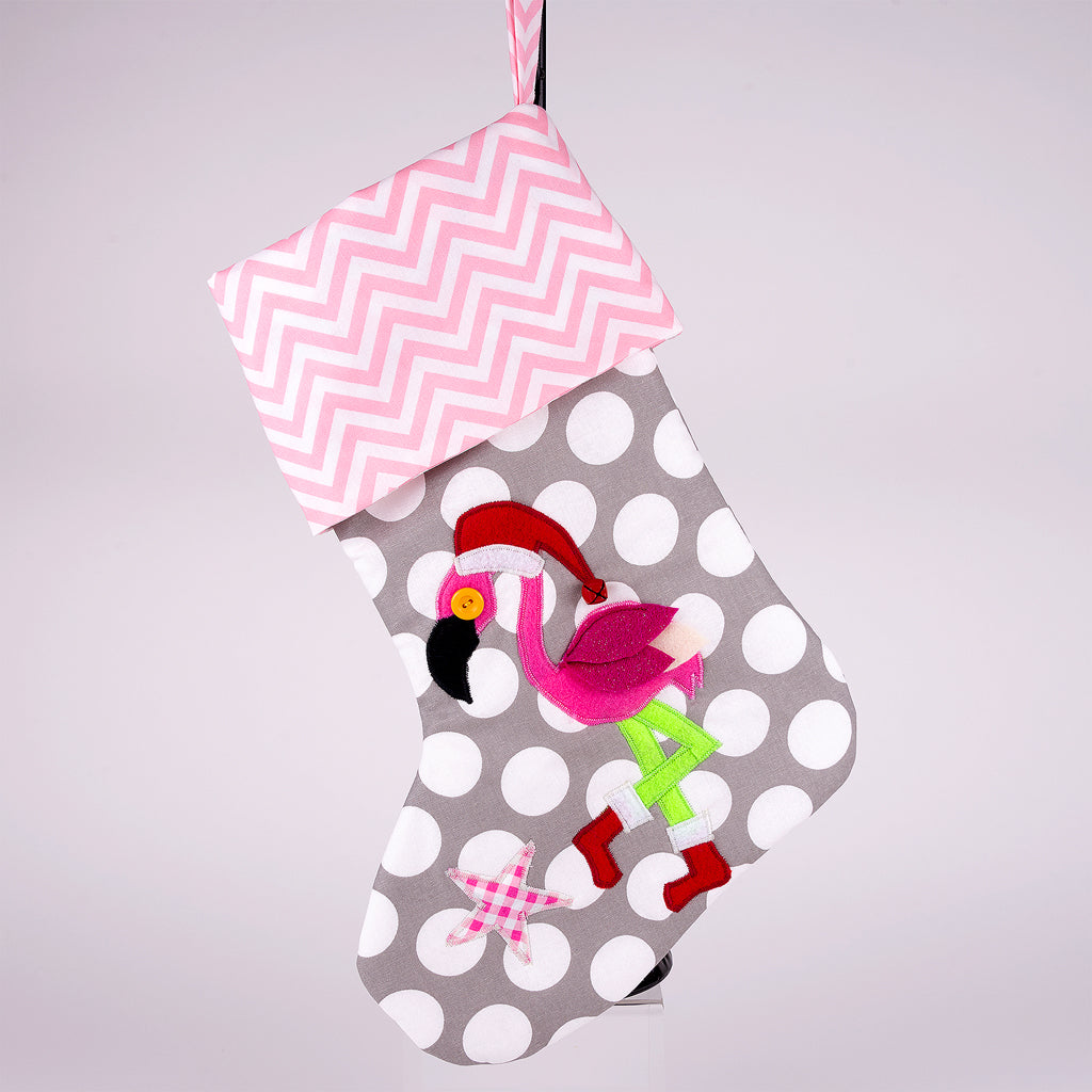 Flamingo with Santa Hat and Boots Christmas Stocking on Gray Polka Dot Fabric