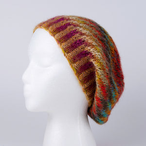 100% Wool Knit Hat in Brown and Blue Stripes