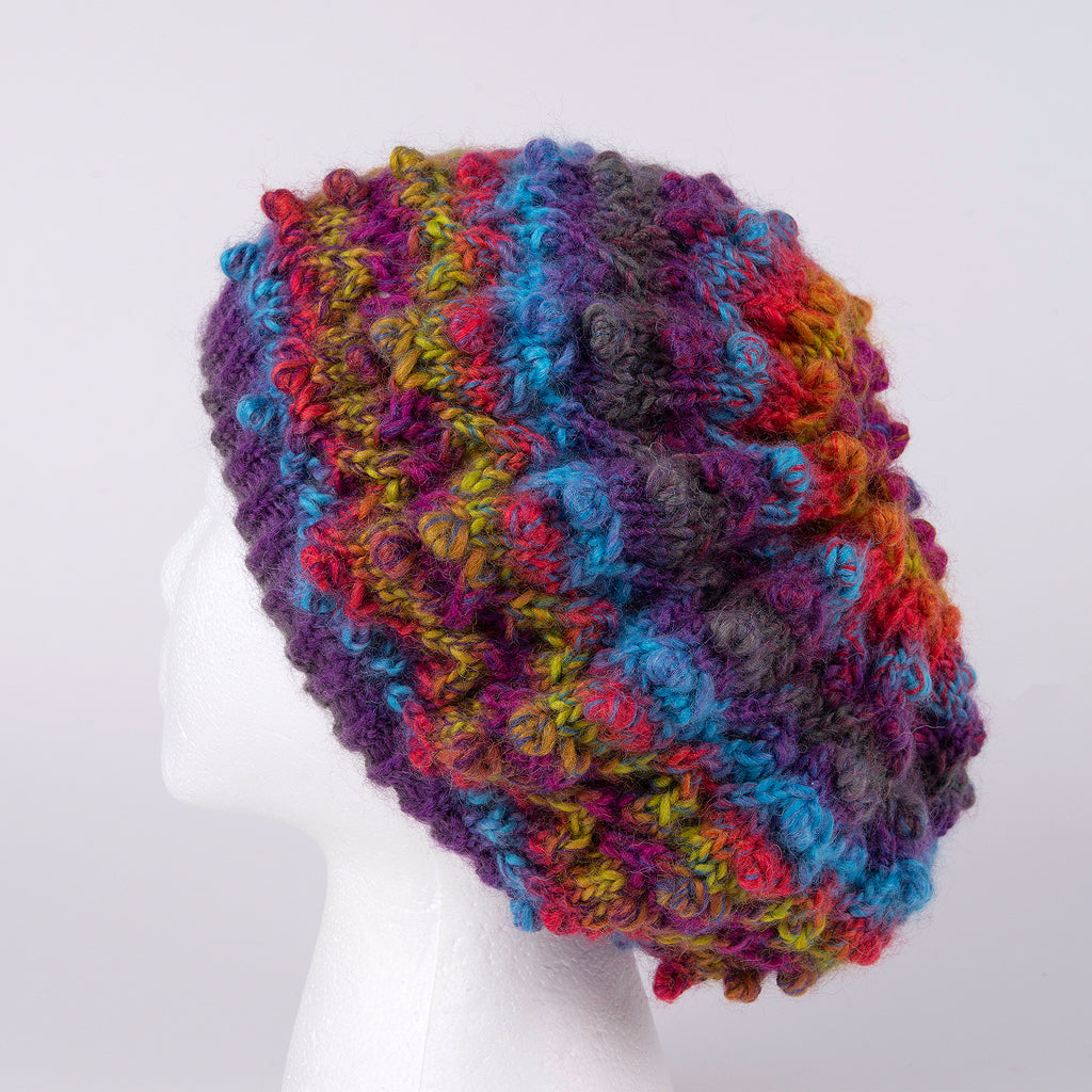 Hand Knit Bobble Knit Hat in Stripe Blue Colors