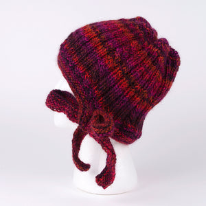Hand Knit Hat with Bow in Red (Wool Hat)
