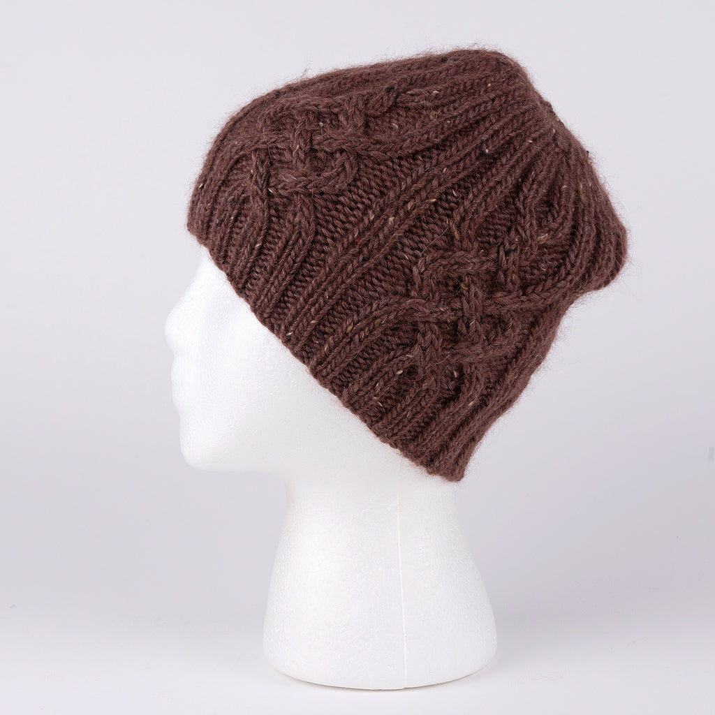 Hand Knit Cable Brown Wool Hat