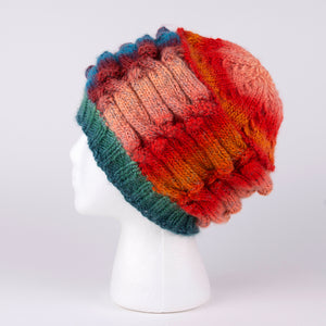 100% Wool Hand Knit Hat in orange and blue